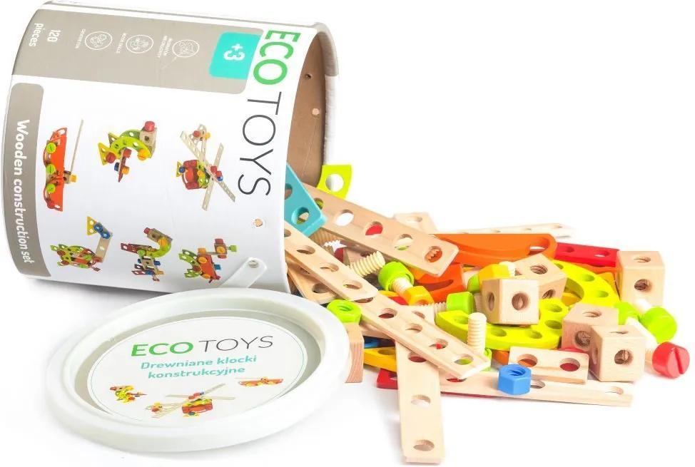 Ecotoys Stavebnica drevené kocky v boxe 120 ks, TL86002