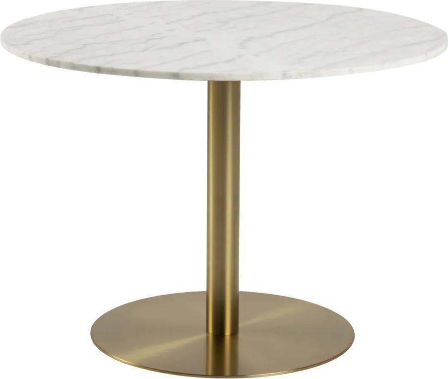Okrúhly jedálenský stôl Nechama 105 cm mramor biely