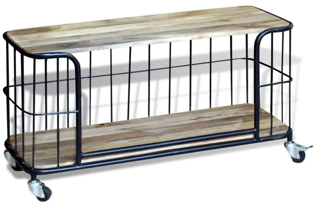 vidaXL TV stolík z masívneho mangového dreva, 100x40x45 cm