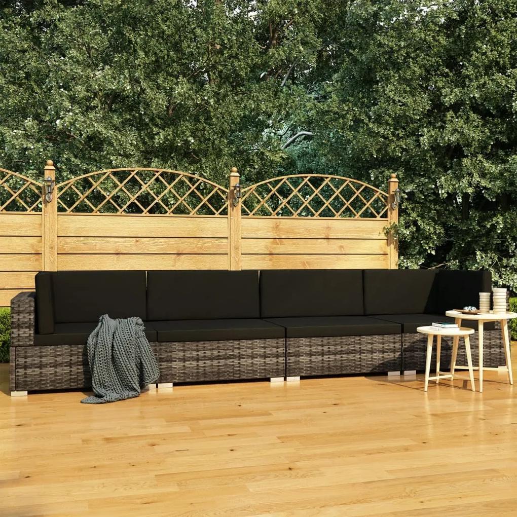 vidaXL 4-dielna záhradná sedacia súprava s podložkami sivá polyratanová