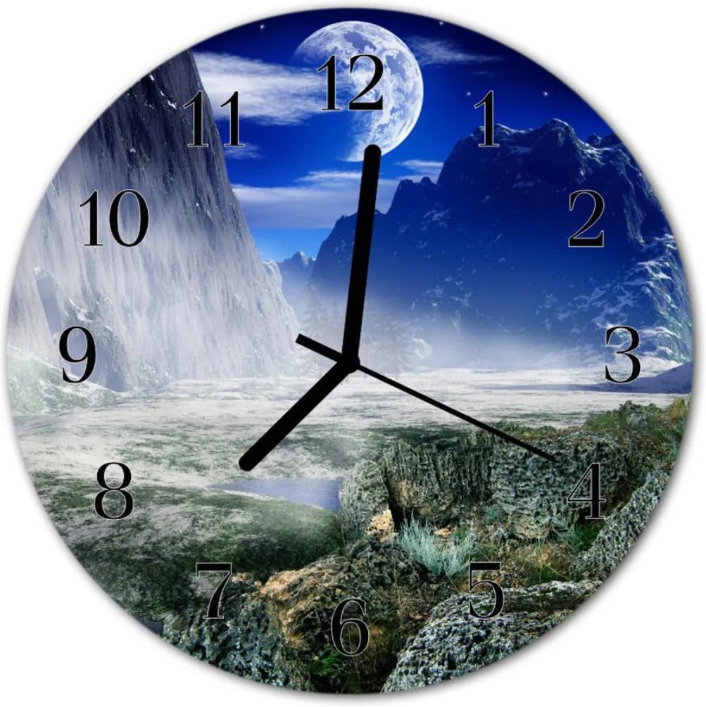 Skleněné hodiny kulaté Hory měsíc