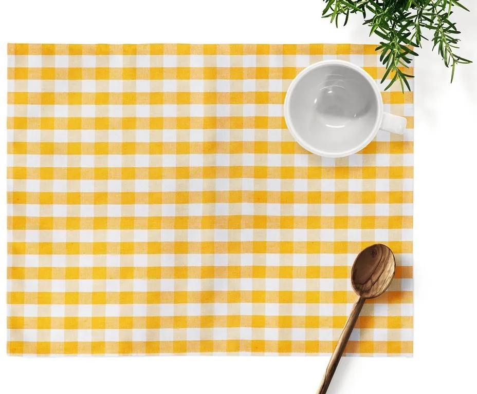 Škodák Dekoračné prestieranie na stôl MENORCA KANAFAS vzor KA-005 Žlté a biele kocky - 35 x 45 cm