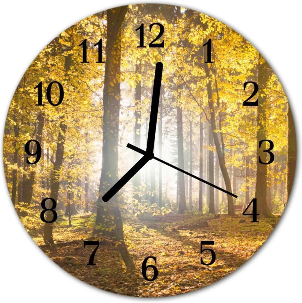 Nástenné sklenené hodiny  jesenné les