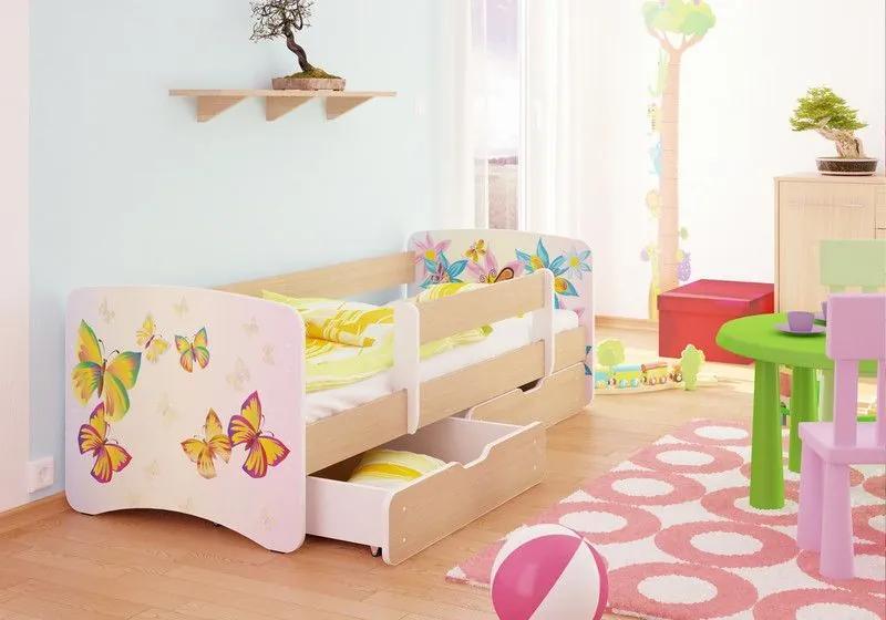MAXMAX Detská posteľ MOTÝLCI 2 funny 160x70cm - so zásuvkou 160x70 pre dievča ÁNO