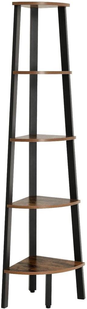 VASAGLE Rohový regál 5 políc hnedý 34x159 cm