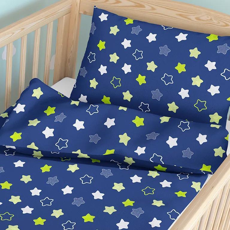 Goldea detské bavlnené obliečky do postieľky - vzor 746 hviezdy na tmavo modrom 90 x 140 a 50 x 70 cm