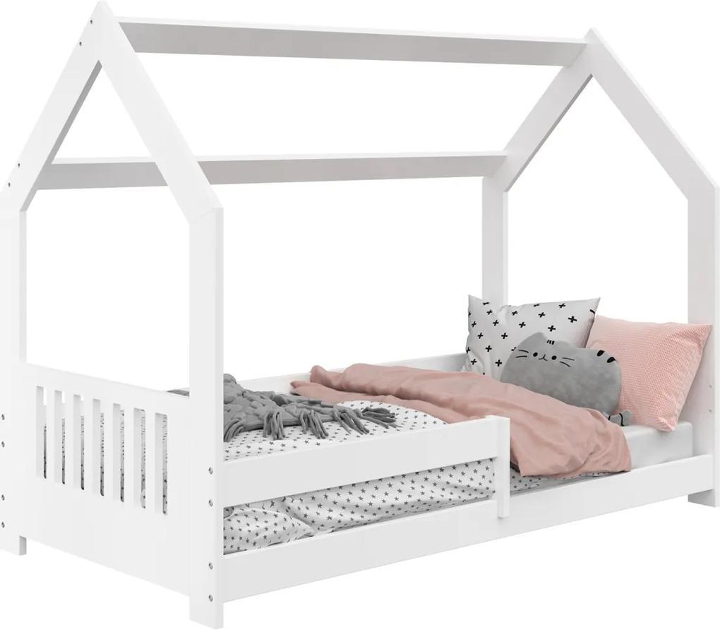 AMI nábytok Detská posteľ DOMČEK D5E 80x160cm masív biela