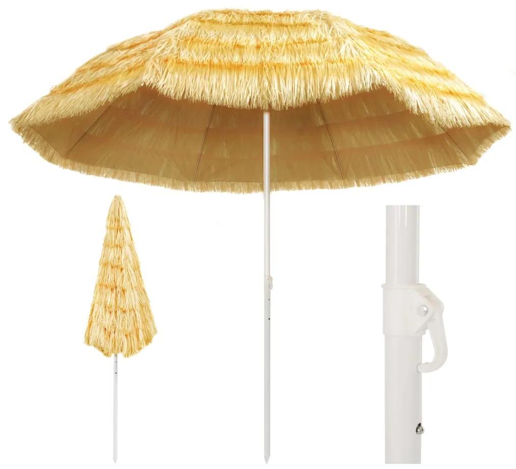 vidaXL Plážový slnečník, prírodný 300 cm, havajský štýl