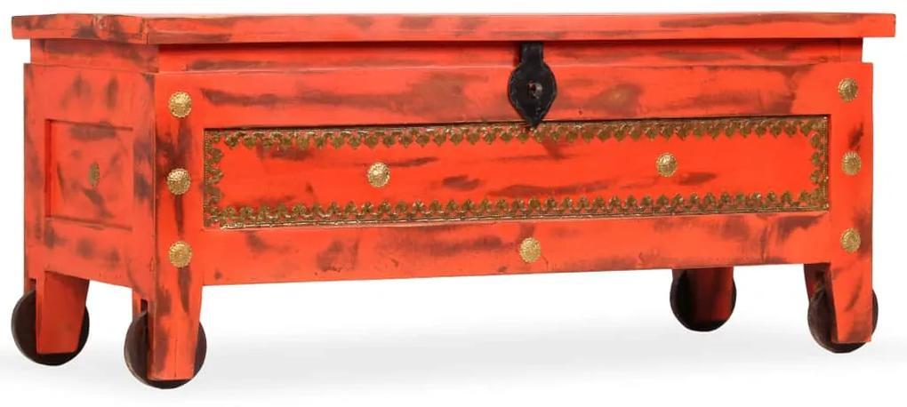 Úložná truhlica masívne mangovníkové drevo 101x39x42 cm červená