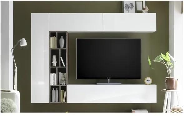 Sconto Obývacia stena NEW VISION 7 dub ribbeck/biela vysoký lesk