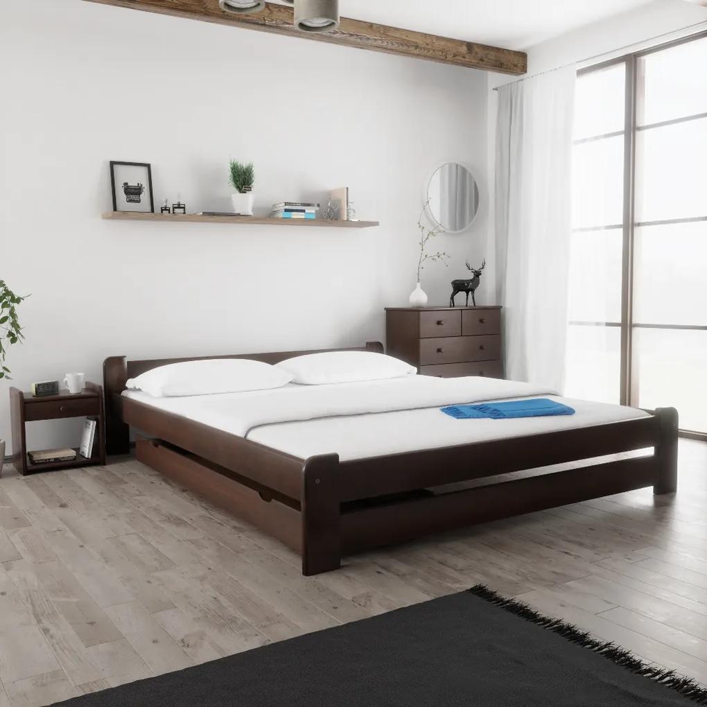 Maxi Drew Posteľ Emily 180 x 200 cm, orech Rošt: s latkovým roštom, Matrac: 2 ks matracov Economy 10 cm