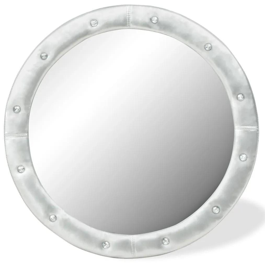 vidaXL Nástenné zrkadlo umelá koža 80 cm lesklé strieborné