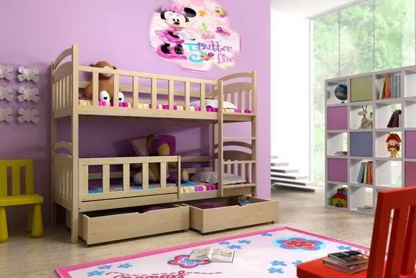 MAXMAX Detská poschodová posteľ z MASÍVU 200x80cm so zásuvkami - PP005 200x80 ÁNO