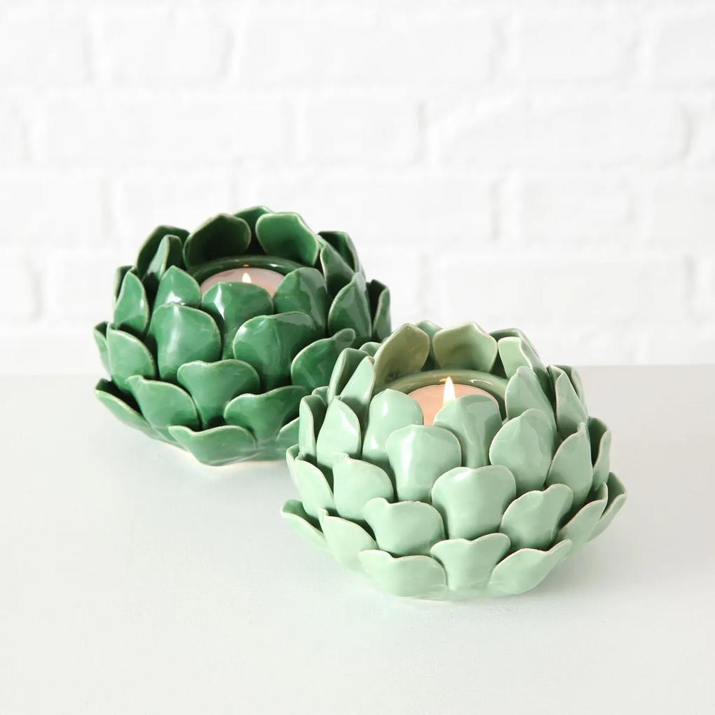 Keramický svietnik Malév, zelený, 2 ks