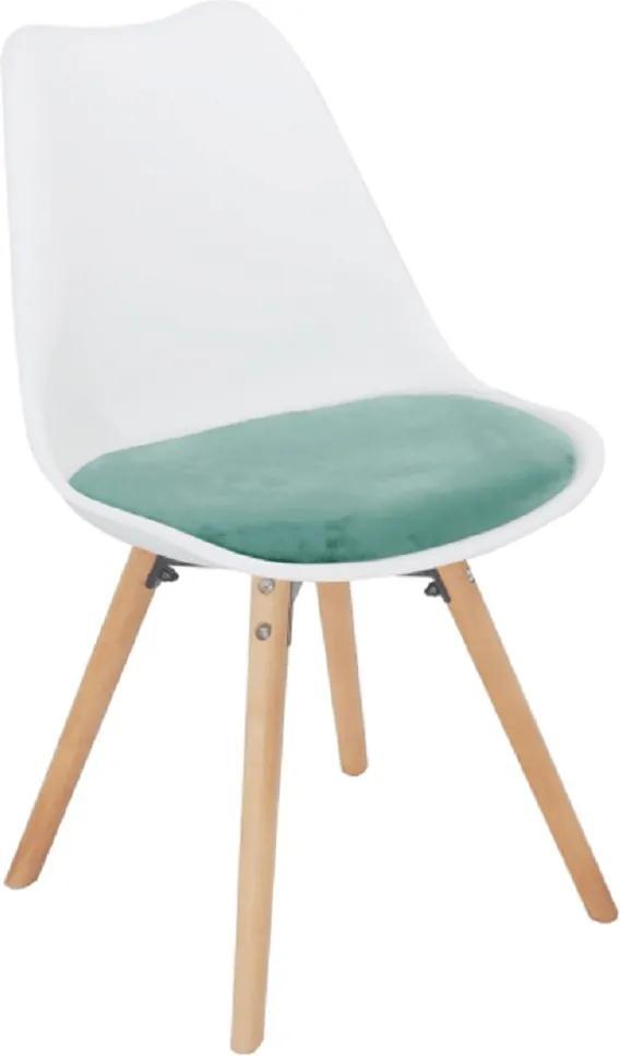 Stolička, mentolová zamatová látka/biely plast/buk, SEMER NEW
