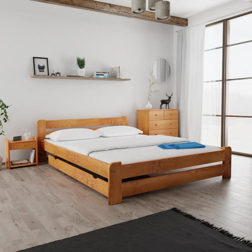 Maxi Drew Posteľ Laura 120 x 200 cm, jelša Rošt: s latkovým roštom, Matrac: s matracom Economy 10 cm