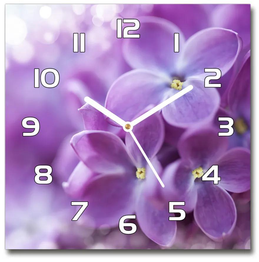 Sklenené hodiny štvorec Kvety bzu pl_zsk_30x30_f_64853789
