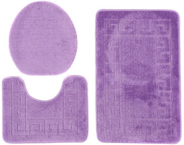 Kúpeľňové predložky 1030 tmavo fialové 3Ks, Velikosti 50x80cm