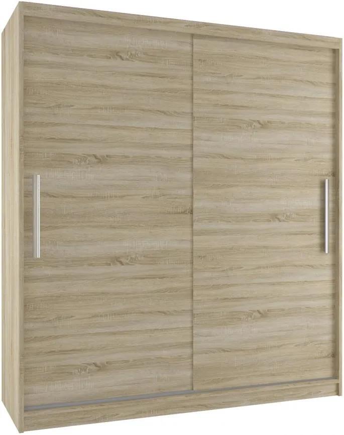 Moderná šatníková skriňa s posuvnými dverami šírka 133 cm dub sonoma korpus Bez dojezdu