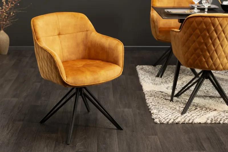 Dizajnová stolička Natasha horčicový zamat