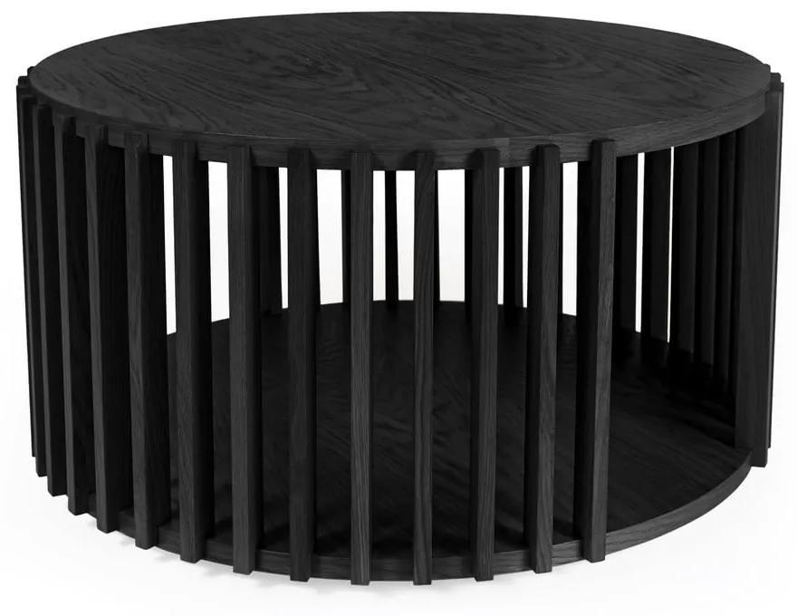 Čierny odkladací stolík z dubového dreva Woodman Drum, ø 83 cm
