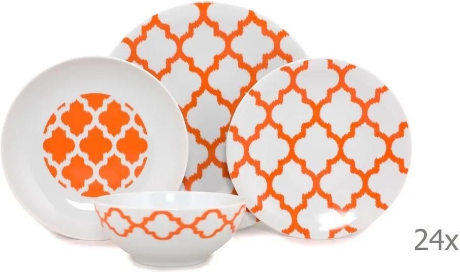 24-dielny set bieloého porcelánového riadu s oranžovým vzorom Kütahya Porselen Grida