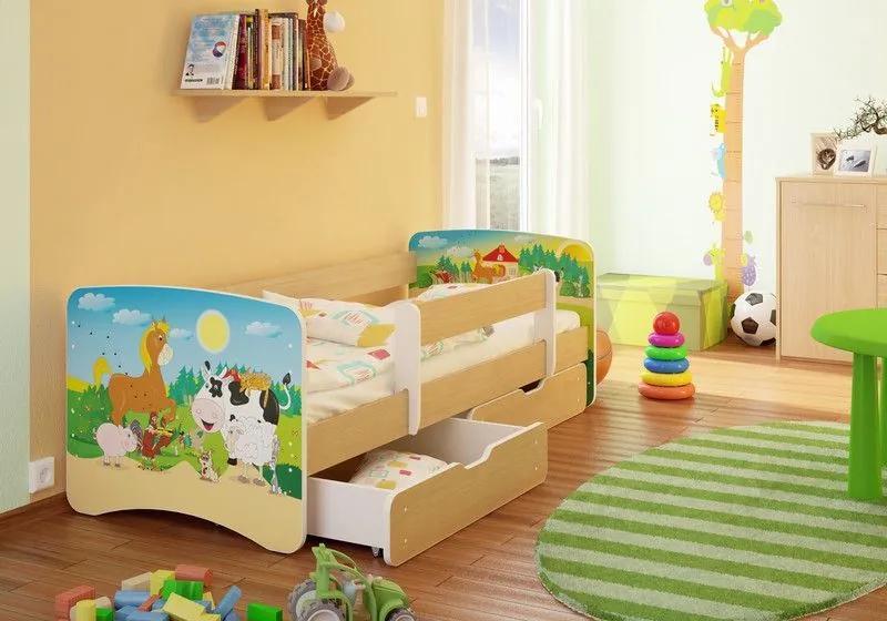 MAXMAX Detská posteľ STATEK funny 180x90 cm - sa zásuvkou 180x90 pre všetkých ÁNO