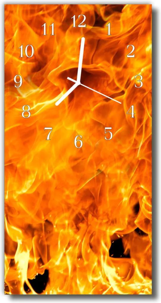 Sklenené hodiny vertikálne  Požiarne plameň farbistý