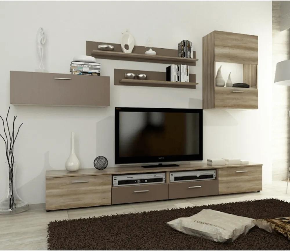 Obývacia stena, dub canyon/hnedá, STONE OS