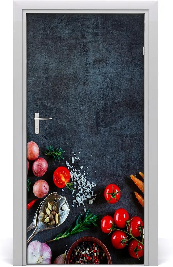 Fototapeta dveře samolepící Zelenina a koření