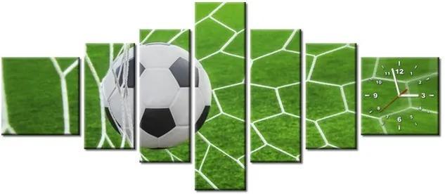 Tlačený obraz s hodinami Futbalová lopta v bráne 160x70cm ZP3872A_7C