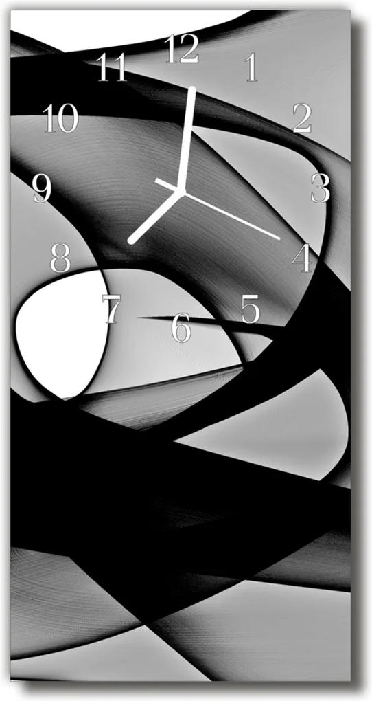Skleněné hodiny vertikální Abstrakce, grafický, černobílý