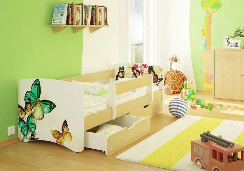 MAXMAX Detská posteľ MOTÝLCI funny 180x80 cm - bez šuplíku 180x80 pre dievča NIE