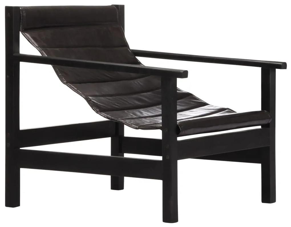 vidaXL Relaxačné kreslo z pravej kože čierne