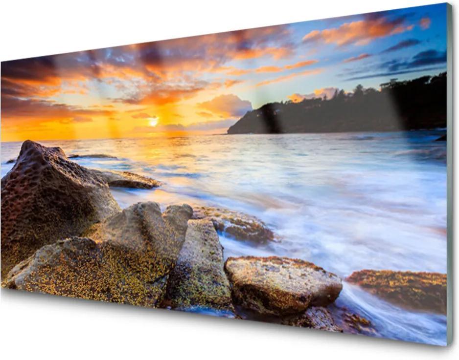 Obraz na skle Kameny Moře Krajina