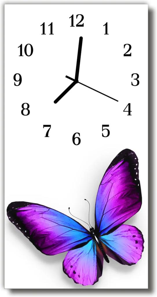 Skleněné hodiny vertikální Zvířata. Barevné motýly