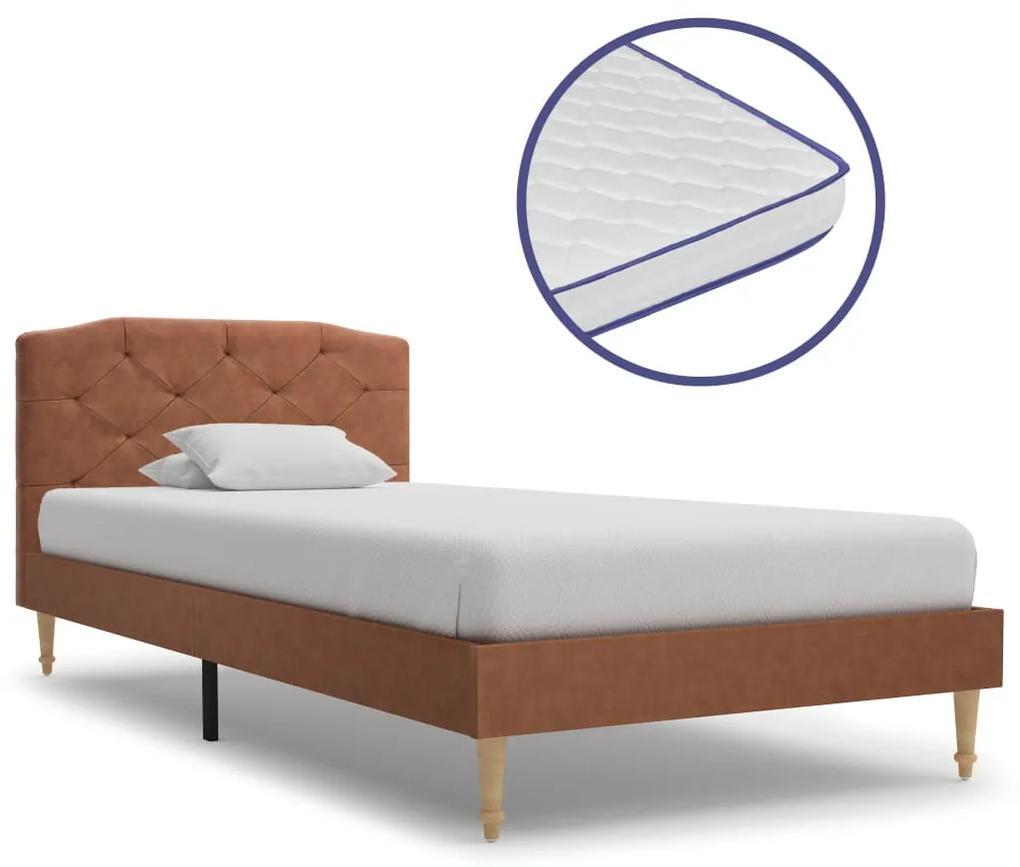 vidaXL Posteľ s matracom, pamäťová pena, hnedá, látka 90x200 cm