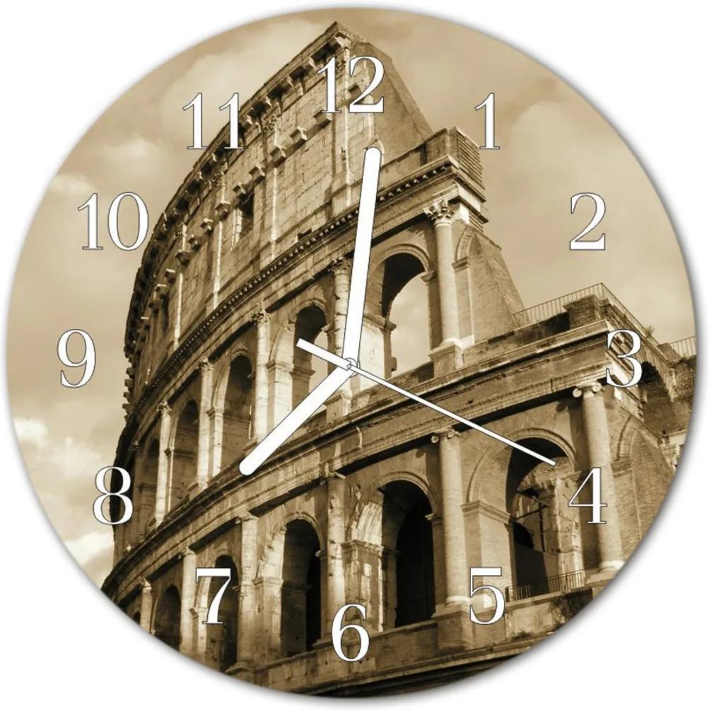 Skleněné hodiny kulaté Koloseum