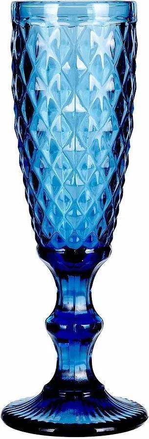 DekorStyle Pohár na šampanské DIAMENT 170 ml modrý