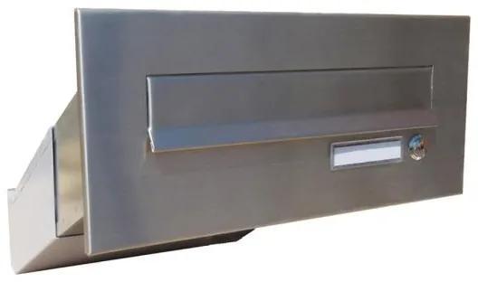 Nerezová poštová schránka DLS-D-041-Z šikmá na zamurovanie do stĺpika, čelná doska so zvončekom