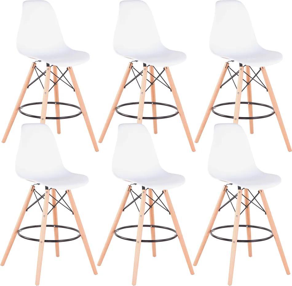Set 6 barových stoličiek, biela/buk, CARBRY 2 NEW