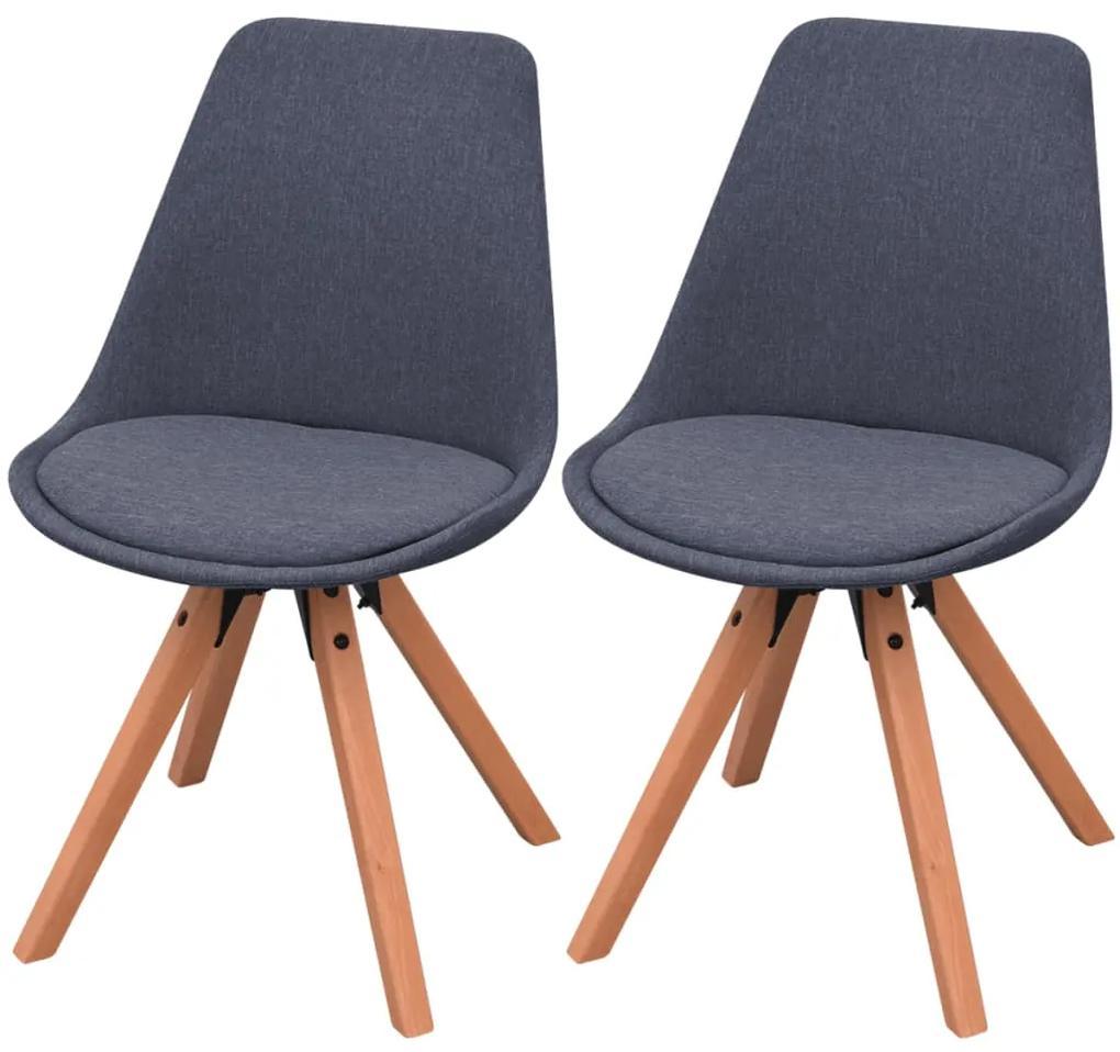 vidaXL Jedálenské stoličky 2 ks, tmavosivé, látka