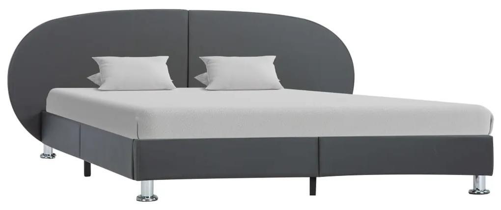 vidaXL Posteľný rám, sivý, umelá koža 180x200 cm