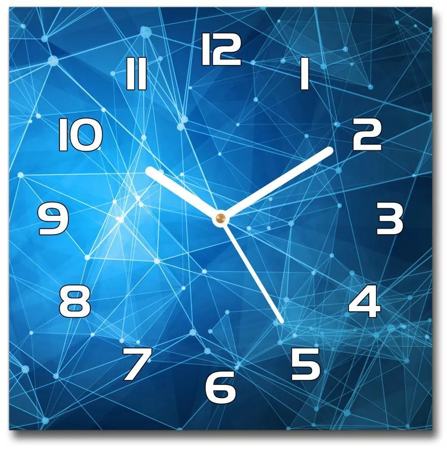 Sklenené hodiny štvorec Modré línia pl_zsk_30x30_f_100657967
