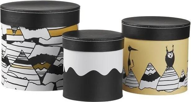 lovel.sk Dizajnové úložné boxy okrúhle hnedo čierne