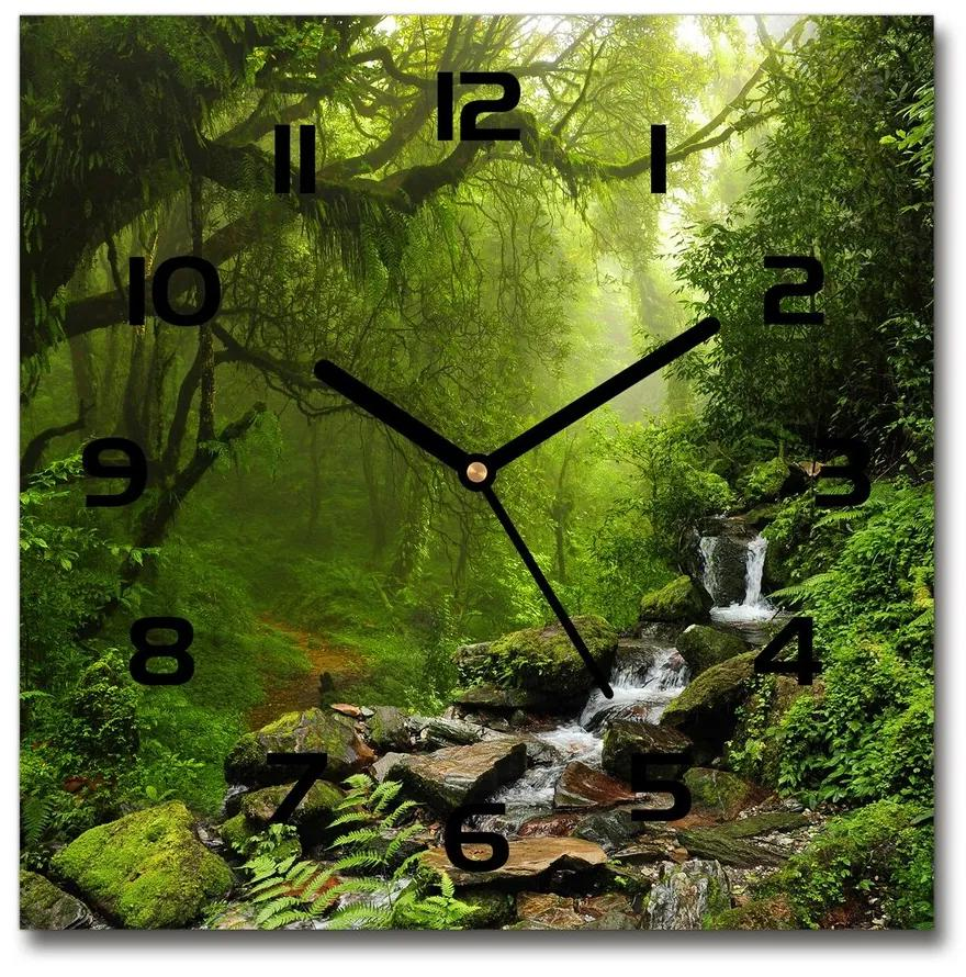 Sklenené hodiny štvorec Prales v Nepále pl_zsk_30x30_f_74013171