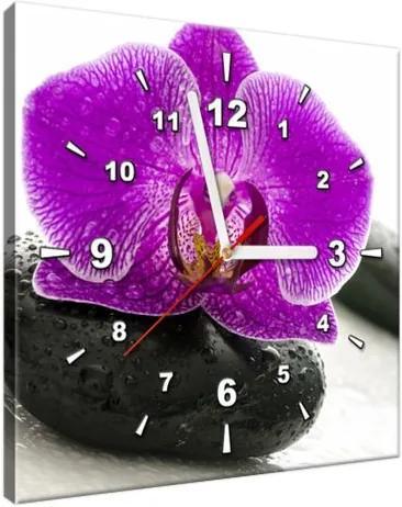 Obraz s hodinami Orchidea na kameni 30x30cm ZP1146A_1AI
