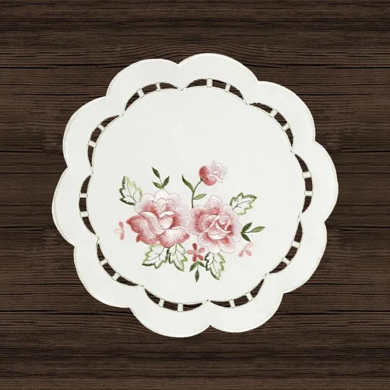 """Goldea biely vyšívaný luxusní obrus ø 30cm """"dve ružičky"""" - smotanový guľatý Ø 30 cm"""