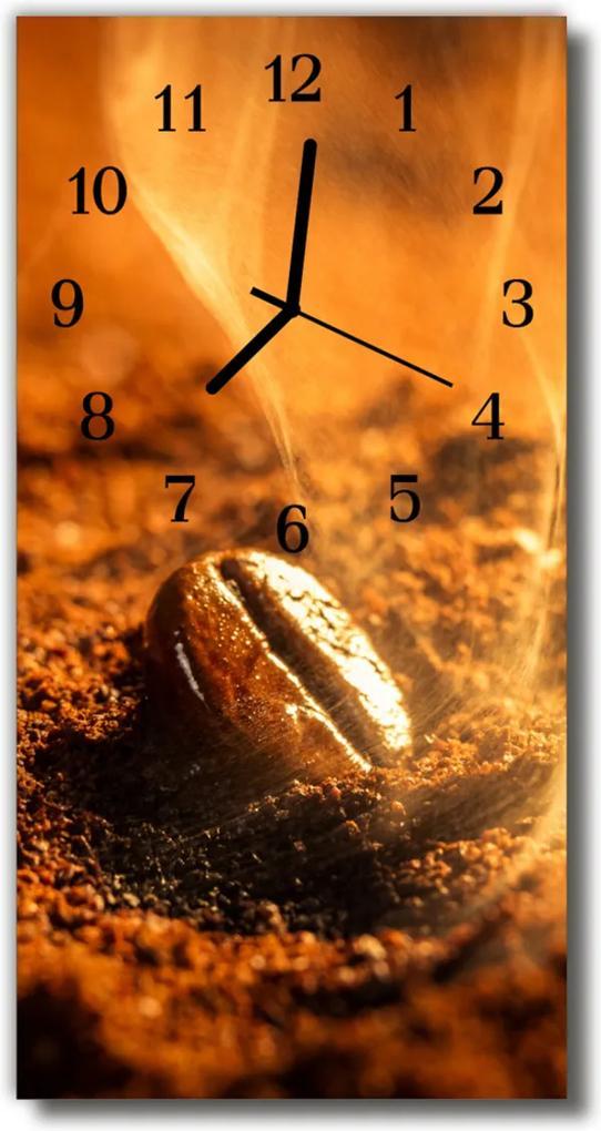 Skleněné hodiny vertikální Káva. Káva byla hnědá