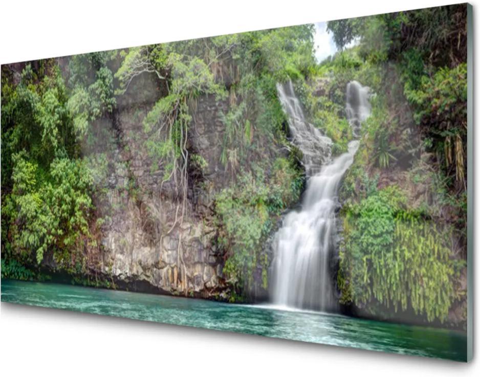 Obraz na skle Vodopád skála příroda